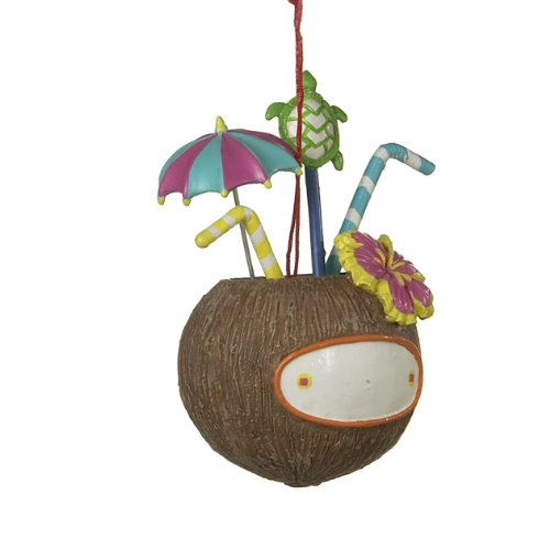 Midwest Tropical Tiki Personalizable Conconut Drink Christmas Ornament