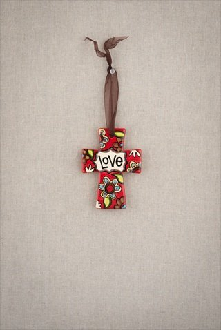 Glory Haus 2340102 Love Ceramic Ribbon Cross Pack of 2