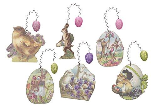 Vintage Design Paper Easter Ornaments Set of 6 Assorted