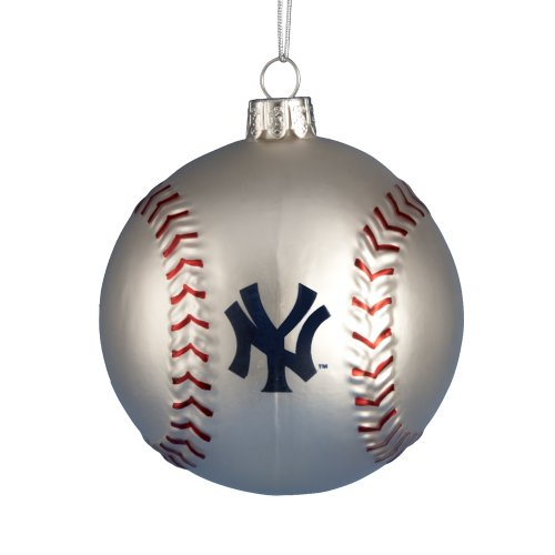 Kurt Adler 80mm New York Yankees Glass Baseball Ornament