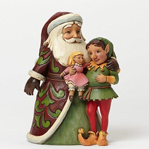 Jim Shore for Enesco Heartwood Creek Santa with Elf Figurine, 6.25-Inch