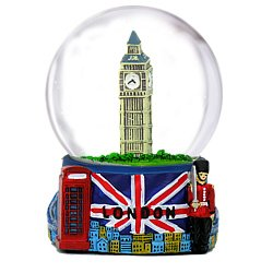 London Snow Globe with Big Ben and Union Jack Flag, 3.5 Inch (65mm) London Snow Globe