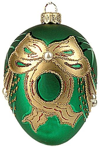 Faberge Inspired Green Pearl Egg Polish Mouth Blown Glass Christmas or Easter Ornament
