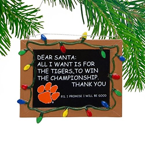 Clemson Tigers Official NCAA 3 inch x 4 inch Chalkboard Sign Christmas Ornament by Forever Collectibles