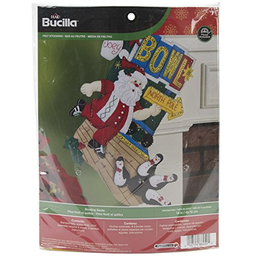 Bucilla 18-Inch Christmas Stocking Felt Applique Kit, Santa