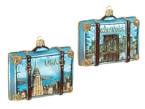 Brooklyn Bridge New York Polish Mouth Blown Glass Christmas Ornament