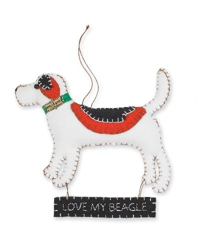 "Mud Pie Felt ""I Love My…"" Dog Ornaments (Beagle)"