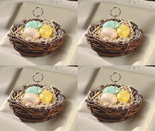 Bethany Lowe 4 Bird Nest Ornaments Place Card Holder Set