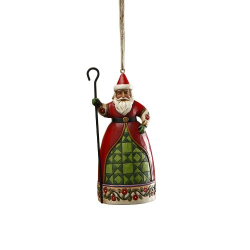 Jim Shore Heartwood Creek Santa with Cane Hanging Ornament, 5 Inches
