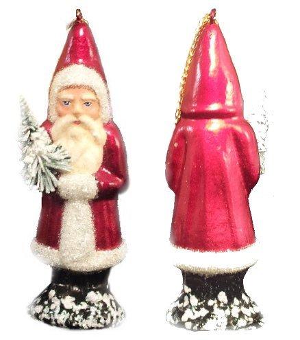 Ino Schaller Paper Mache Santa in Burgundy Coat Christmas Ornament