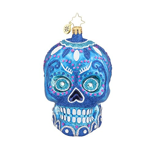 Christopher Radko Blue La Calavera Day of the Dead Skull Glass Christmas Ornament – 4.5″h.