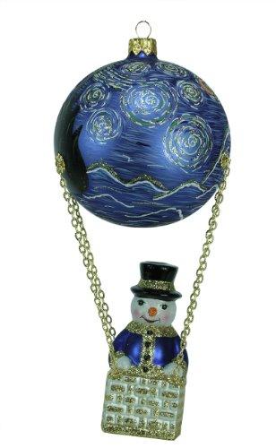 David Strand Designs Glass Frosty Skies Starry Night Snowman Christmas Ornament