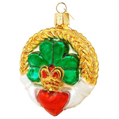 Old World Christmas Claddagh Irish Glass Ornament