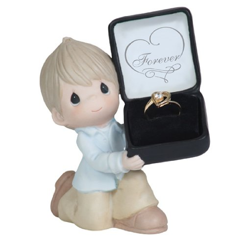 Precious Moments Boy Kneeling with Ring Box Figurine