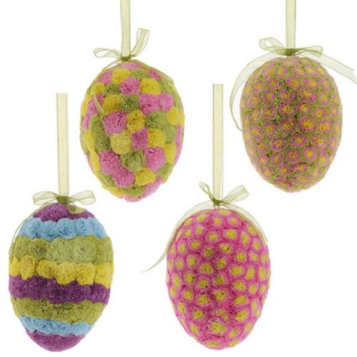 RAZ Imports Easter 7.5″ Egg Ornament, Set of 4