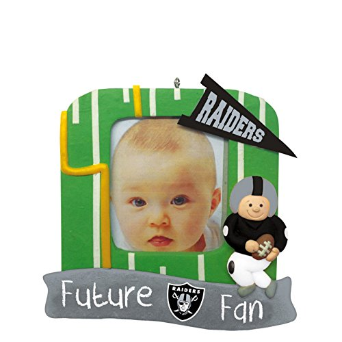 Oakland Raiders Official NFL 5.25 inch x 5 inch x 2.5 inch Future Fan Photo Frame Christmas Ornament by Evergreen