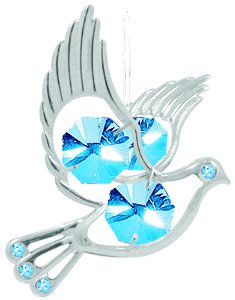 Hanging Sun Catcher or Ornament….. Dove With Blue Swarovski Austrian Crystals