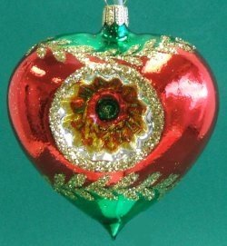Reflector Heart German Glass Christmas Ornament