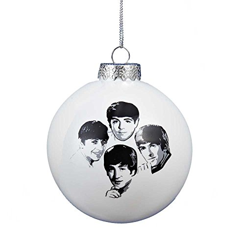 Kurt Adler 80mm Beatles White Glass Ball Ornament