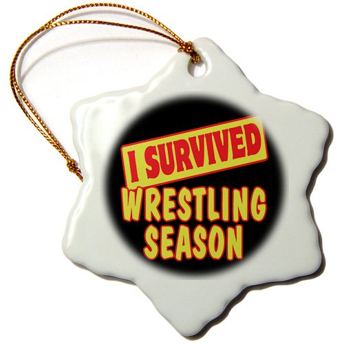 3dRose orn_118482_1 I Survived Wrestling Season Sports Fans Survial Pride and Humor Design Snowflake Ornament, Porcelain, 3-Inch