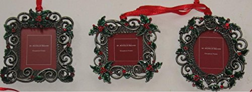 St. Nicholas Square Holly Photo Frame Hanging Christmas Ornaments – Set of Three