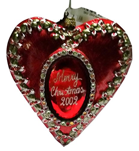 Jay Strongwater 2002 Annual Christmas Ornament Blown Glass Heart