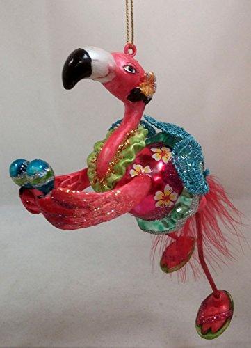 December Diamonds Flamingo Holding Maracas Glass Christmas Ornament