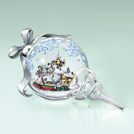 Kinkade Blown Glass Holiday Treasures 3D Together for the Holidays Ornament