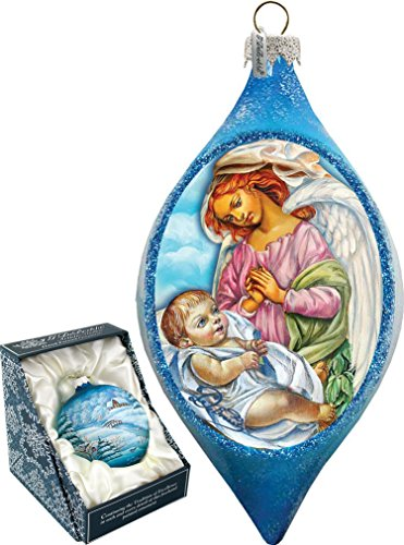 G. Debrekht LED Light ANGELIC TOUCHGlass DROP Hand Painted Glass Ornament BABY NATIVITY Hand blown – Christmas Ornament gift