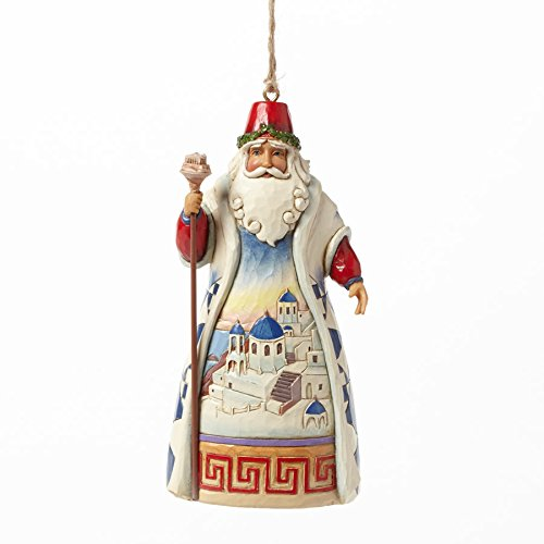 Jim Shore for Enesco Heartwood Creek Greek Santa Ornament, 4.5-Inch
