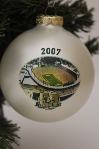 Green Bay Packers NFL Lambeau Field 50th Anniversary (1957-2007) Traditional 3″ Glass Christmas Ornament