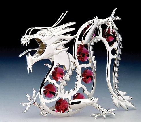 Oriental Dragon Silver Plate Swarovski Crystal Ornament