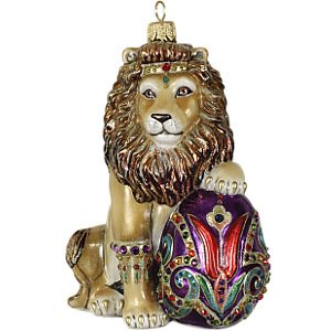 Jay Strongwater Lion with Egg Glass Ornament