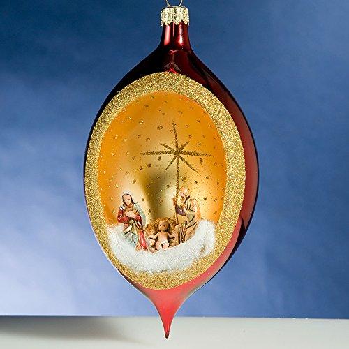De Carlini Red Nativity Creche Drop Italian Glass Christmas Ornament