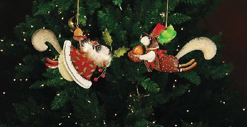 Patience Brewster Mr & Mrs Squirrel Tin Ornaments