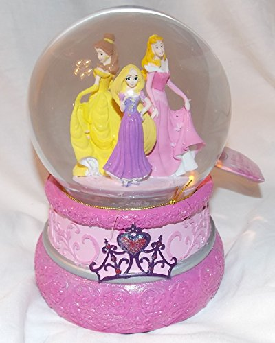 Disney Princess Musical Waterball Snowglobe with Blowing Snow – Rapunzel Aurora and Belle