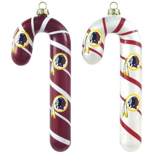 NFL Washington Redskins Blown Glass Candy Cane Ornament Set