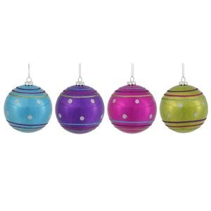4″ Colorful Candy Ball Ornament Asst 4/Box
