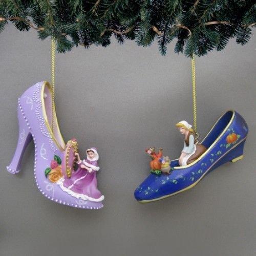 Disney Once Upon A Slipper Ornament #6 Bradford Exchange Ornament Set