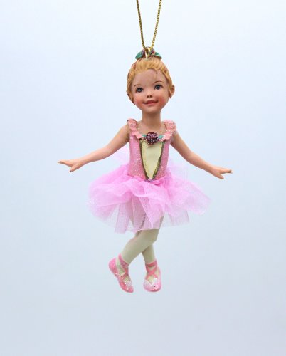 4.25-inch RESIN PINK BALLET GIRL with Blond Hair ORNAMENT by Kurt S. Adler (C8339-blond)