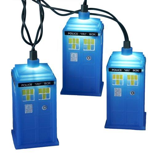 Doctor Who Kurt Adler UL 10-Light Tardis Light Set, Blue