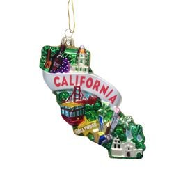Kurt Adler Glass California Ornament, 5-Inch