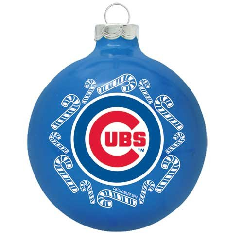 """Chicago Cubs 2 5/8"""" Painted Round Candy Cane Christmas Tree Ornament"""