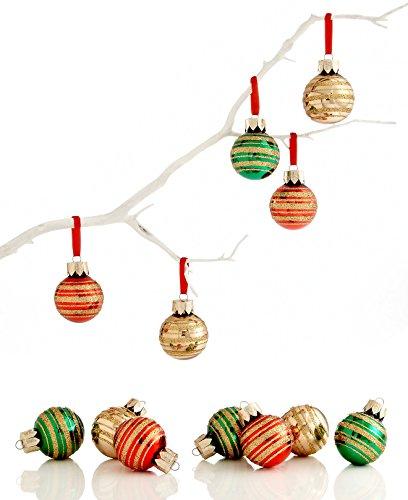 Holiday Lane Red, Green & Gold Mini Metallic Glitter Glass Ornaments Set of 12
