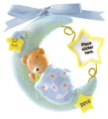 Carlton Cards Heirloom 2010 Sleeping Baby Boy Bear on Moon Christmas Ornament