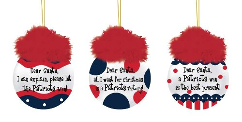 New England Patriots Team Sayings Ornament Set