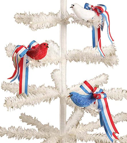 BETHANY LOWE Red White Blue Ribbon Bird Ornaments – Set of 3
