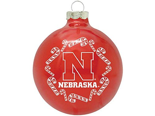 "Nebraska Cornhuskers NCAA 2 5/8"" Painted Round Candy Cane Christmas Tree Ornament-RED"
