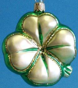 Four Leaf Clover German Glass Christmas Ornament