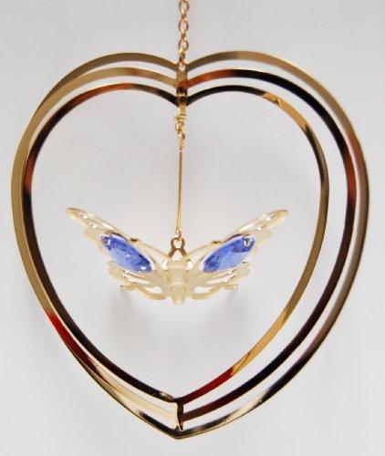 24k Gold Butterfly in Heart Ornament – Purple Swarovski Crystal